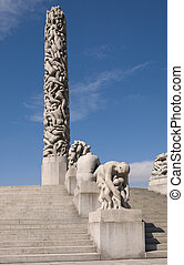 The monolith sculpture at the Vigeland museum, Oslo Norway
