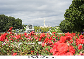 Vigeland Park in the sunshine day, Oslo, Norway