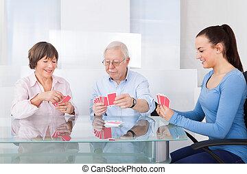 vigia, cartas de jogar, com, par velho