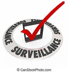 vigilância, caixa seleção, anel, palavras, segurança,...