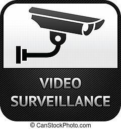 vigilância, cctv, sinal, câmera, vídeo, segurança, símbolo