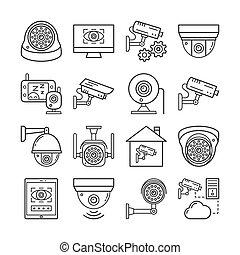 vigilância, magra, segurança, ícones, câmera cctv, jogo, linha