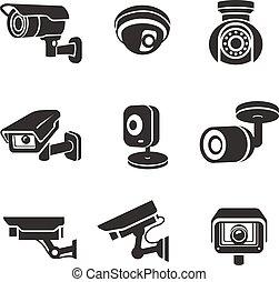 vigilancia, cámaras video, conjunto, icono, pictograms, gráfico, seguridad