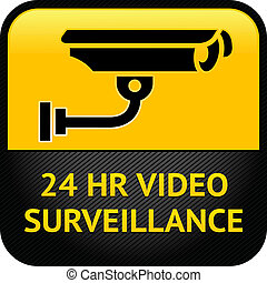 vigilancia video, señal, cctv, pegatina