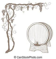 vigne, vendange, illustration, vecteur, white., baril