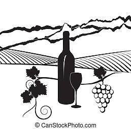 vigneto, bottiglia, vino