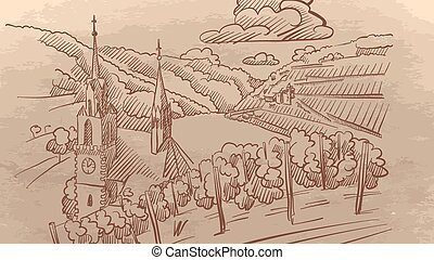 vigneto, europa, paesaggio