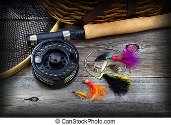 vignette, 齒輪, 木頭, 鄉村, 釣魚
