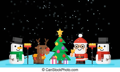 Vignette Concept Santa Claus Reindeer Snowmen and Christmas Tree