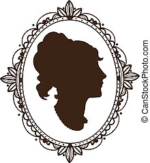 Vignette frame with woman profile. Sketch isolated on white...