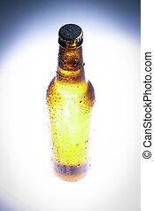 Vignette photo of fresh beer. Close up. White background