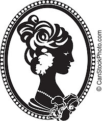 Vignette retro medallion with female profile