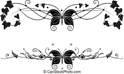 vignette set with butterfly - set of vector banners with ...
