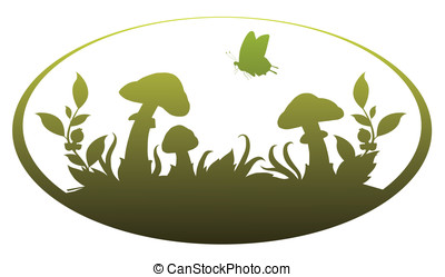 Vignette with mushrooms for application in the book drawing...