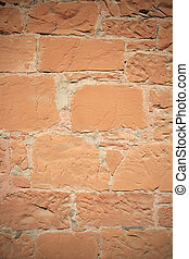 vignetted red sandstone wall
