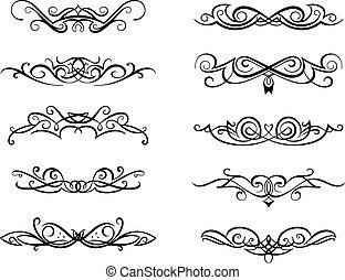 Vignettes and monograms set in vintage floral style for design