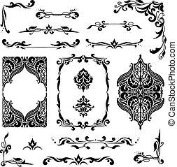 vignettes, elegante, arabo, set