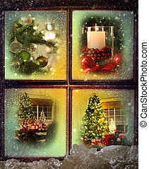Vignettes of Christmas scenes seen through a wooden window