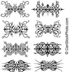vignettes, symétrique, tribal