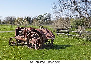 vignoble, étang, vieux, tracteur