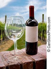 vignoble, bouteille, vin