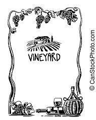 vignoble, icon., fields., villa, affiche, vendange, bouteille, illustration, élevé, verre, vecteur, noir, toile, cruche, rural, étiquette, vin., raisins, blanc, paysage, tas