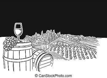 vignoble, verre, scène, paysage