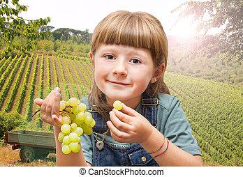 vignobles, manger, girl, raisins