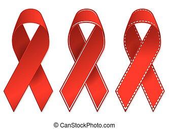 vih, cintas, cáncer, conocimiento, rojo