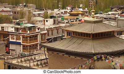Vihara temple and Buddhist town buildings, Leh. - High...