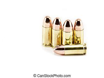 vijf, 9mm, kogels