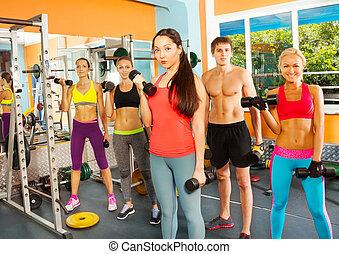 vijf, aardig, jongeren, in, de, fitnessclub