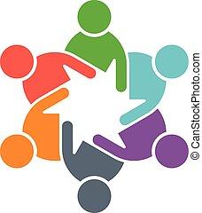 vijf, cirkel, groep, logo., mensen