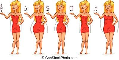 vijf, figuren, types, vrouwlijk
