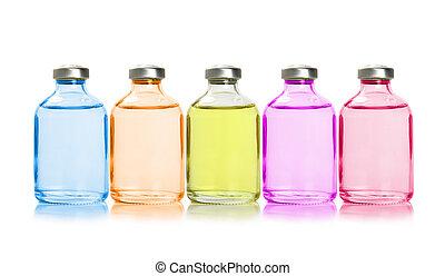 vijf, gekleurde, flessen, met, wezenlijke olies
