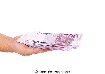 vijf honderd euro, rekening, op, hand.
