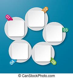 vijf, info, etiketten, met, getallen, circl
