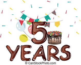 vijf, jaren, jarig, met, ballons, en, ribbons.