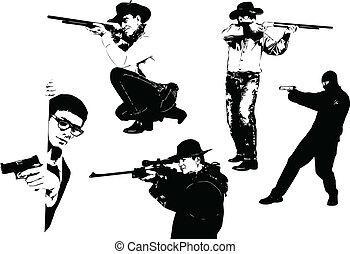 vijf, mannen, silhouettes, met, gun., ve