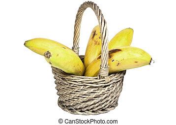 vijf, rijp, bananen, in, een, geweven, wicker mand