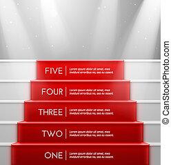 vijf, stappen