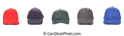 vijf, werkende , peaked, cap.
