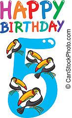 vijfde verjaardag, jubileum, ontwerp