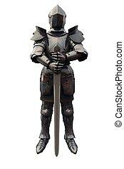 vijftiende, eeuw, ridder, met, zwaard