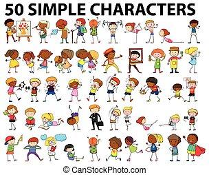 vijftig, eenvoudig, karakters, doen, anders, activiteiten