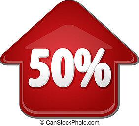 vijftig, procent, op, omhoog, richtingwijzer, bel, illustratie
