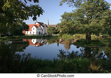 vijver, idyllisch, dorp