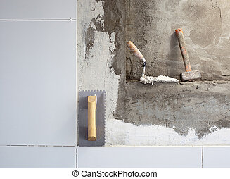 vijzel, bouwsector, gereedschap, trowel, getand