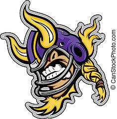 viking の ヘルメット, うなること, グラフィック, フットボール, スポーツ, アメリカ人, ベクトル, 角, lmage, マスコット