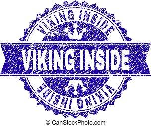 viking, グランジ, 切手, 中, textured, シール, リボン